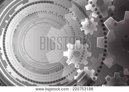 Abstract modern technology background. Vector cogwheel illustration