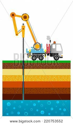 The drilling truck drills a well. Mining industry. Schematic flat illustration. Layers of the earth