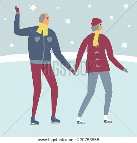 Cartoon old man and woman ice skaters. Winter illustration for your design.