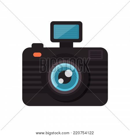 Flat Vector Retro Camera Icon, photocam label. Photography design element. Good for company and photography advertisement.