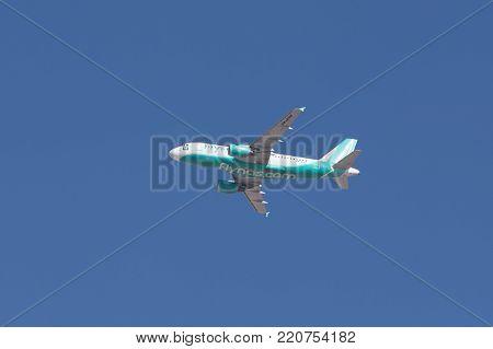 Riyadh, Saudi Arabia, KSA - January 05, 2018 Flynas plane in Riyadh sky