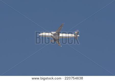 Riyadh, Saudi Arabia, KSA - January 05, 2018 Saudi Arabia airlines plane in Riyadh sky - Cargo