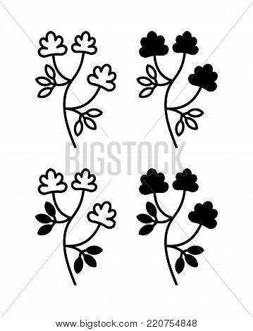 Alfalfa, Medicago sativa, lucerne. Vector illustration of alfalfa plant with flowers isolated on white background. Icon set.