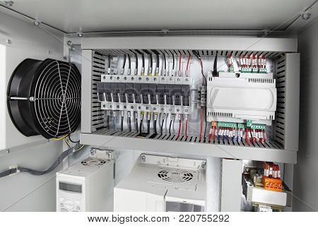 Electrical background,voltage switchboard with circuit breakers close up
