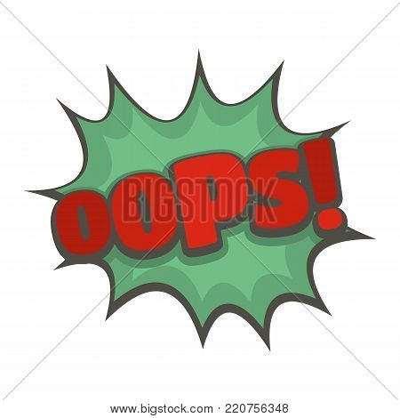 Comic boom oops icon. Flat illustration of comic boom oops vector icon isolated on white background