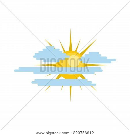 Cloudy sun icon. Flat illustration of cloudy sun vector icon isolated on white background