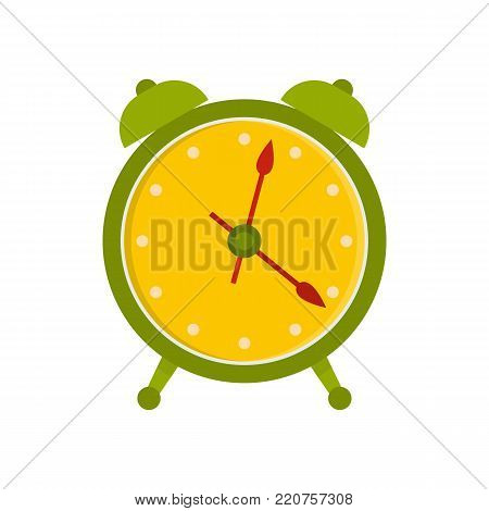 Alarm clock icon. Flat illustration of alarm clock vector icon isolated on white background