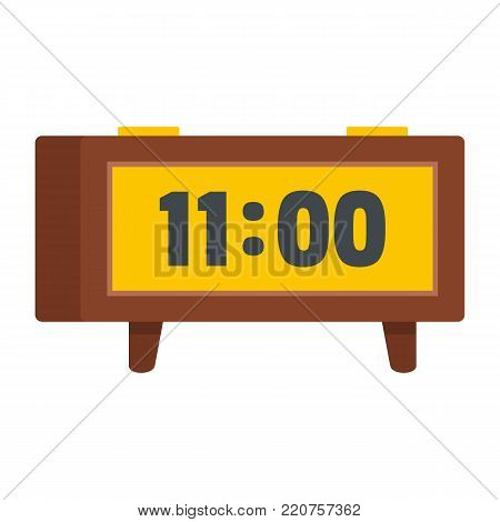 Alarm clock retro icon. Flat illustration of alarm clock retro vector icon isolated on white background