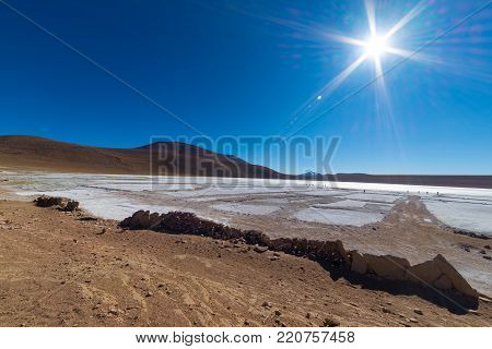 Frozen Salt Lake On The Andes, Road Trip To The Famous Uyuni Salt Flat, Travel Destination In Bolivi