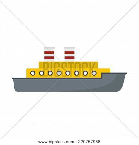 Steamship icon. Flat illustration of steamship vector icon isolated on white background