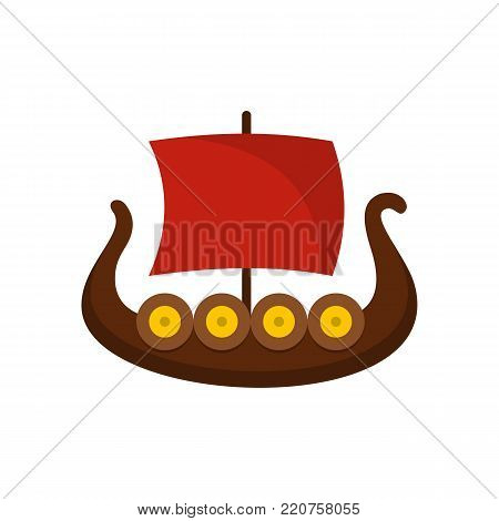 Ship viking icon. Flat illustration of ship viking vector icon isolated on white background
