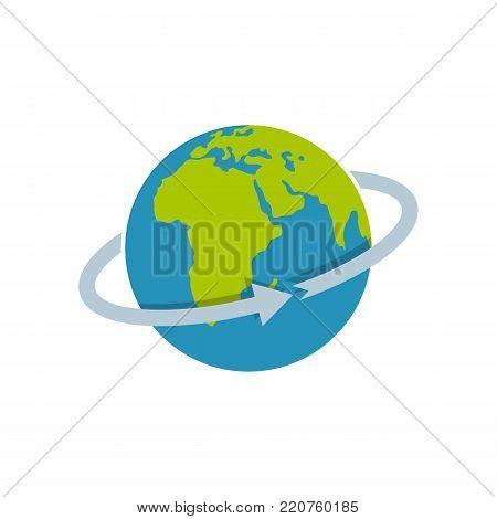 Flight around world icon. Flat illustration of flight around world vector icon isolated on white background