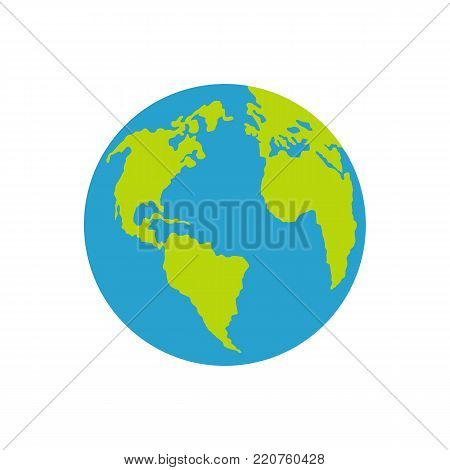 Continent on planet icon. Flat illustration of continent on planet vector icon isolated on white background