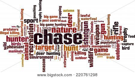Chase word cloud concept. Vector illustration on white
