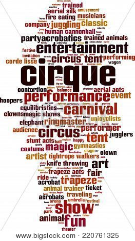 Cirque word cloud concept. Vector illustration on white