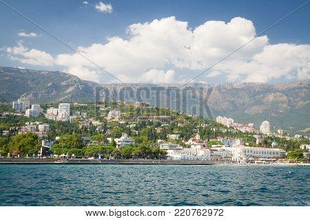 Waterfront Black Sea City Of Yalta In Crimea