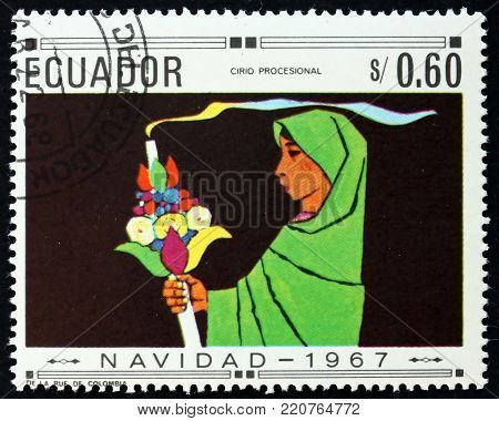 ECUADOR - CIRCA 1967: a stamp printed in the Ecuador shows processional, Christmas, circa 1967