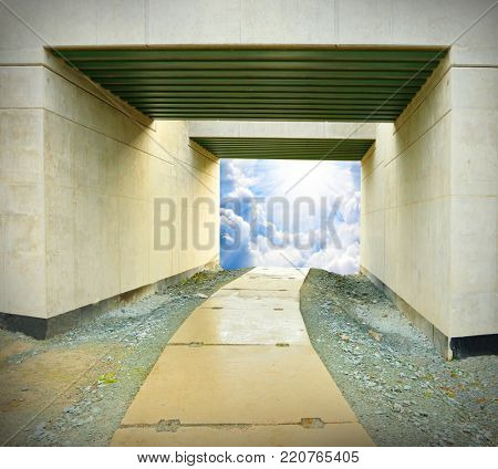 Light at end of the tunnel. Way to freedom or to heaven.  Hope metaphor.