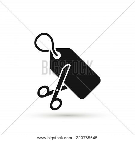 Scissors are cutting price tag as a discount symbol. Vector icon.
