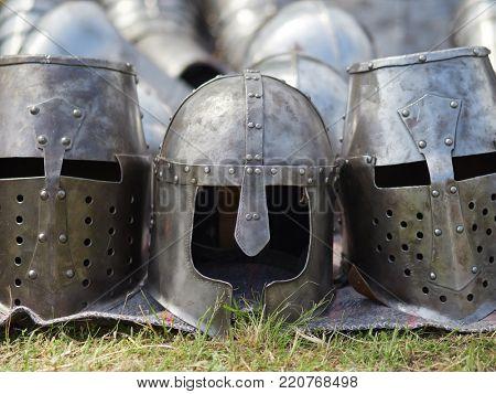 Medieval metal helmets