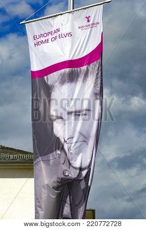 BAD NAUHEIM, GERMANY AUGUST 2017: Flags on 16 th European Elvis Festival in memory of Elvis Presley.