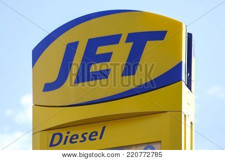 WETZLAR, GERMANY JULY 2017: JET logo and scoreboard in the blue sky on JULY 2017 in WETZLAR, Germany.  JET is the filling station brand of Phillips 66 used in Europe.