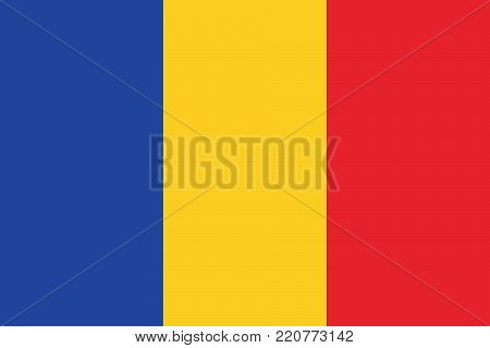 Romanian flag, flag of Roumanie oficial colors and proportions