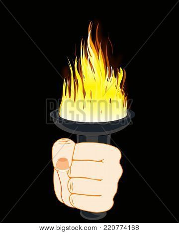 Burninging torchlight in hand of the person on black background