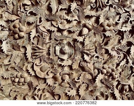 teak flower carving handy craft from indonesia