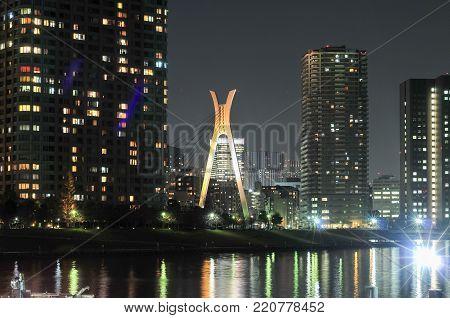 Chuo Ohashi bridge and Sumida River at night in Japan