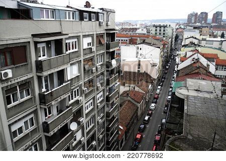 View on Vracar neighborhood in Belgrade on cloudy day
