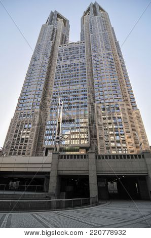 Tokyo, Japan - March 15, 2009: The Tokyo Metropolitan Government Building, also referred to as Tocho for short, houses the headquarters of the Tokyo Metropolitan Government.