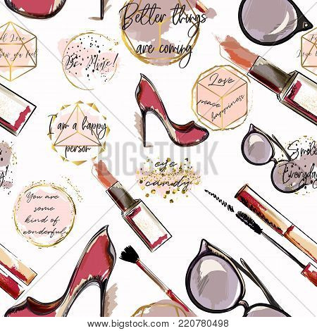 Trendy fashion vector pattern with cosmetics,  shoes, lipstick, mascara and lipstick