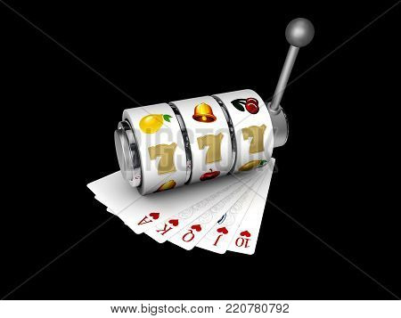 Slot machine with lucky sevens jackpot with play cards, 3d Illustration isolated black.