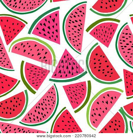 Seamless watermelons pattern. Vector background with watercolor watermelon slices. Melon fruit print illustration texture