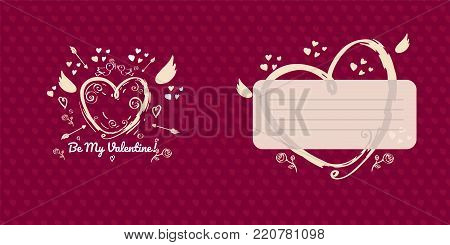 Greeting card design for valentines day. Red version. Double sided greeting card with place for message. Hand drawn heart with Cupid wings and arrows on red background with little hearts.