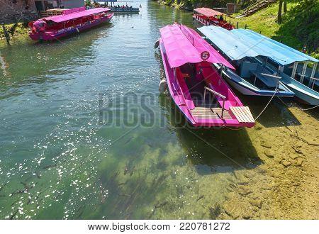 Rhein waterfall, Germany - April 2017: boats in Rheinfall basin on a sunny day