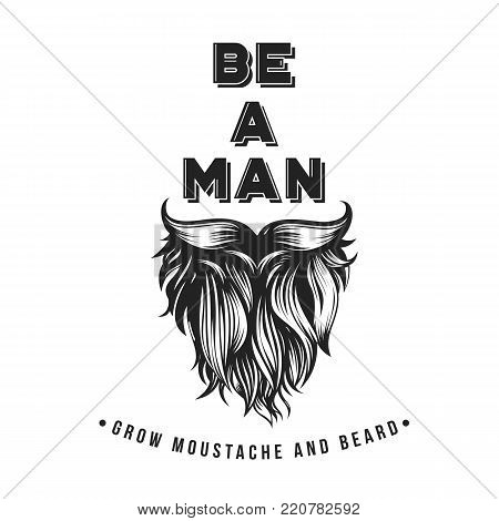 Vector Bearded Hipster Typography. Hand drawn style with No Shave November topic.