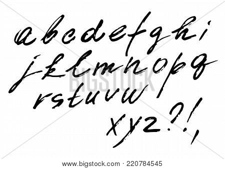 The font vector set of cursive alphabet. Italic font, written by marker, fast style with weak pressure.