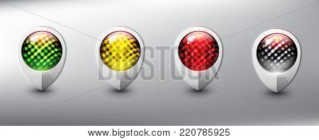Collection of 4 map markers. Location icons. Semaphore. White with traffic lights in 4 different colors. Isolated with realistic shine and shadow on the light background. Vector illustration. Eps10.