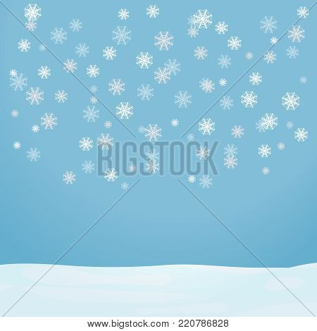 Snowflakes fall on a light blue background. Flying snowflakes fall on the snow. Flat design, vector illustration, vector.