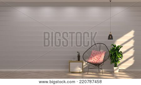 chairs in front of gray wall with decorative items in vintage empty room,open door,3d rendering luxury living room modern mid century room interior home design
