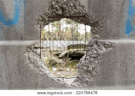 Hole in a concrete fence overlooking the pine forest