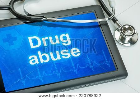 Tablet with the text Drug abuse on the display
