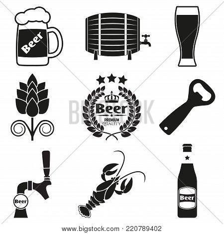 Beer icon set with beer bottle, tap, opener, mug. Vector illustration.