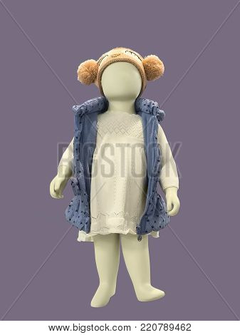 Full-length child mannequin dressed in warm casual clothes, isolated. No brand names or copyright objects.