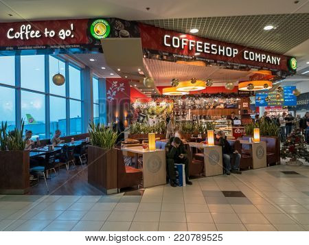 Moscow, Russia - December 16, 2017: Coffeeshop company cafe at Domodedovo airport