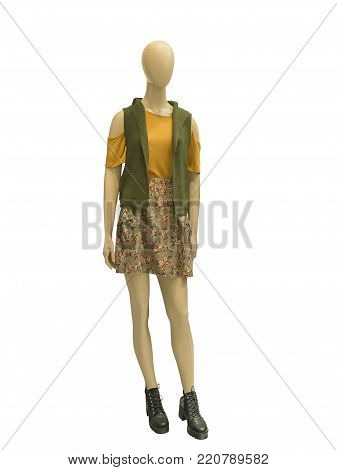 Full-length female mannequin dressed in casual clothes, isolated on white background. No brand names or copyright objects.