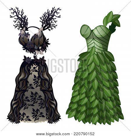 Two elegant fancy dresses.  Vector cartoon close-up illustration.