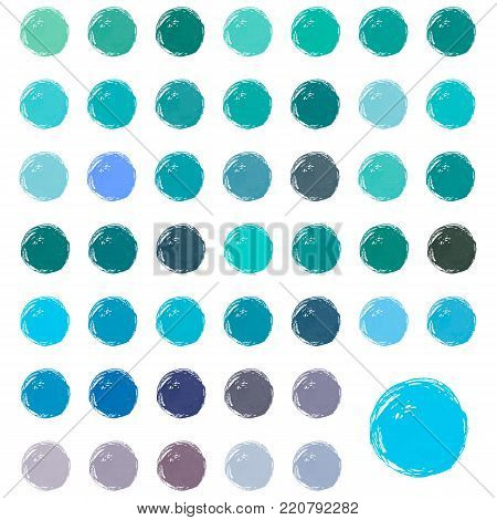 Watercolor stains, blobs, splashes. Set of colorful watercolor hand painted bue circles isolated on white.